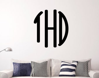 Monogram Oval Personalized Vinyl Wall Decal Monogrammed Initials, Custom Letters,  Bedroom, Nursery Wall Decal