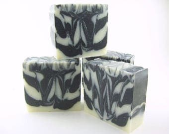 Activated Charcoal Soap, Zebra Stripe Handmade Soap, Unscented, vegan friendly, cold process, black and white