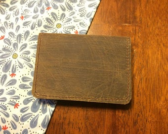 Genuine Leather Business Card Holder / Bifold Wallet - Amish Handmade - Bulk Discounts - Made in USA