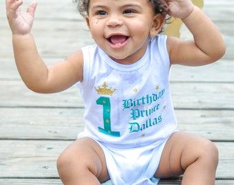 Little Prince Baby Boy Name 1st Birthday Onesie