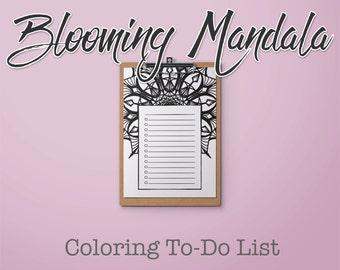 Blooming Mandala Printable Coloring To-Do List