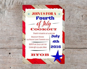 4th of july invitation, 4th of July BBQ, 4th of July Cookout Invitation, BBQ Party Invitation, Bbq Invitation, BBQ Invite