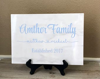Personalized Name Tile, Last Name Sign, Wedding Gift, Anniversary Gift, Bridal Shower, Wedding, Established Sign, Family Sign, Name Sign