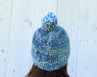 Handspun Yarn Hat - Blue Pom Pom Hat - Angora Merino Hat - Blue Angora Hat - Wool Crochet Hat - Angora Wool Hat - Crochet Pom Pom Hat