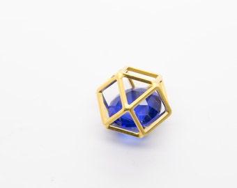 Blue Diamond Cage Pendant Charm- CE1