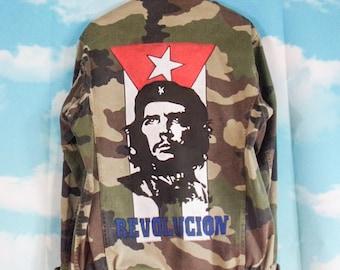 Veste militaire kaki Motif Che Guevara peint main + écussons Taille M