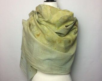 Eco Friendly Scarf - Eco Print Hand Dyed Scarf - Gift for Her - Handmade Organic Cotton Scarf - Vegan - Eco Dyed Leaf Print - Botany Print