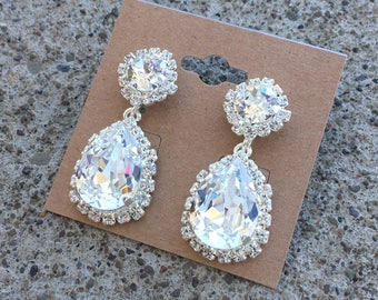 PROM QUEEN Swarovski crystal dangle earrings in a sterling silver setting - surrounded by small, clear rhinestones