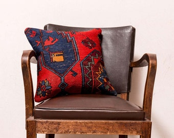 PAYPAL, Turkish kilim pillow, Decorative pillow, Vintage home decor, Cushion cover, Boho pillow, Kilim rug pillow, 16x16 inches, 40x40 cm