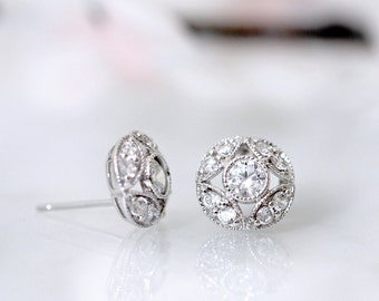 Art Deco Vintage Design CZ Stud Earrings <> Round Cut CZ Earrings <> Silver Tone Rhodium Plating <> 2115