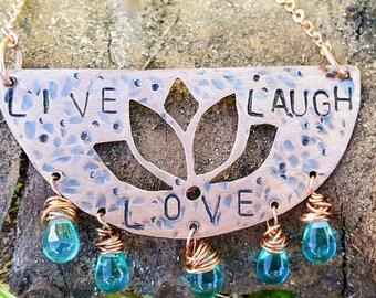 """Copper lotus """"live laugh love"""" necklace"""
