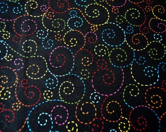 Timeless Treasures - Dotted Swirl Stitched - Multi Color Fabric