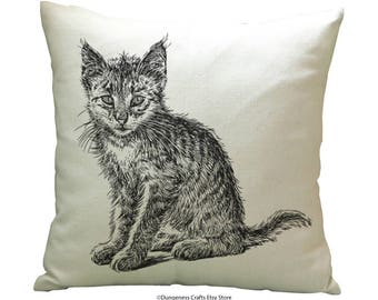 """Drawing Cat Scared Cushion Cover with Cushion Insert Included- 18"""" by 18"""" -"""