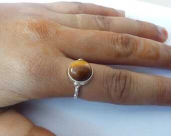 Tiger Eye Ring, Silver Ring, Silver Tiger Eye Ring,92.5% solid sterling Silver Ring, Pure Sterling Silver Ring, size 3-12(USA Standard)