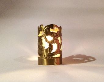 Brass Floral Votive Votive Candle Holder