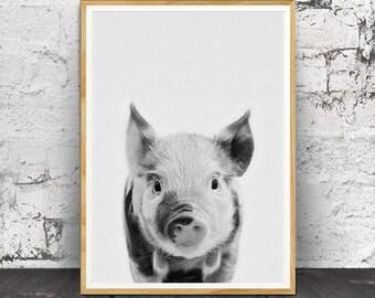 Pig Print, Nursery Decor, Nursery Animals, Pig Wall Art, Nursery Printable, Nursery Animal Print, Farm Animal Print, Nursery Farm Animal