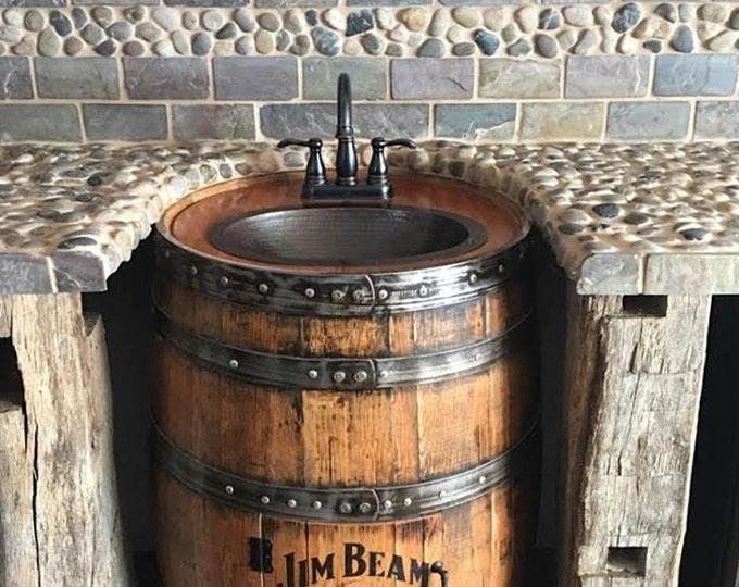 whiskey barrel sink hammered copper rustic antique bathroom bar man cave vanity