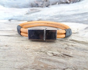 EXPRESS SHIPPING, Men's Leather Bracelet, Mens Jewelry, Ginger Leather Bracelet,Magnetic Clasp Bracelet, Gift For Him, Father's Day Gifts