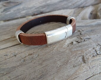 EXPRESS SHIPPING,Men's Chocolate Brown Leather Bracelet,Men's Jewelry,Silver Magnetic Clasp Bracelet,Men's Cuff Bracelet,Father's Day Gifts