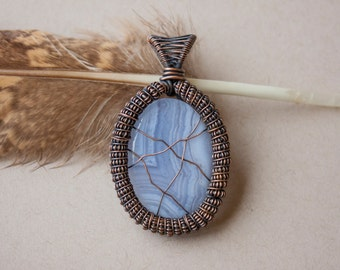Wire wrap pendant on blue lace agate gemstone...healing, crystals, gift idea, mother, blue, magical, beautiful, surprise, anniversary