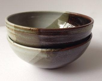 Set of 2 Handmade Ceramic Bowls - Dipped in White and Tenmuku Glaze - Glazed Ceramic Bowl Set