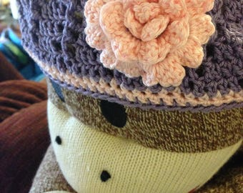 Crochet Spring Cloche Hat with flower Adult