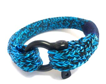 The Abyss, Deep Dark Blue Bracelet for Men, Ravenclaw, Panthers, Mavericks,  Nautical Rope, Shackle, Rugged, Adventure, Climbing, Biking