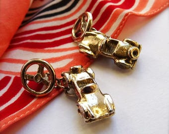 Vintage Sports Car Cuff Links, Gold Car Cufflinks, Convertible Car, Automobile, Mens Retro Gift