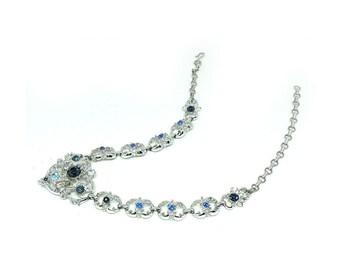 Vintage 1950s Necklace, Vintage Necklace, Coro Necklace, Blue Necklace, Costume Necklace, 1950s, Flower Necklace, Choker, Statement Necklace