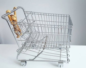 Vintage miniature metal shopping cart buggy