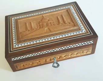 Vintage wooden hand carved jewellery box with key
