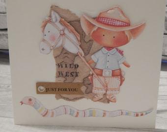 Handmade 3d Tilda Cowboy greetings card