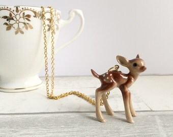 Deer Necklace, ceramic Deer Necklace, doe, deer, Bambi jewellery, fawn necklace, kitsch jewellery, gifts for her