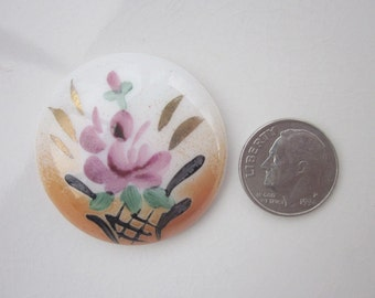 Vintage Hand-painted Porcelain Cabochon, White and Orange with Floral Design, 35mm