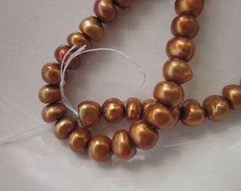 "Bright Copper Freshwater Pearls, 7mm x 5mm Potato, 16"" Strand"