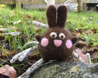 Needle Felted Round Brown Bunny