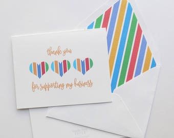 Rodan and Fields Thank You Foldover Card - Referral Card - Business Support - Striped Hearts 2