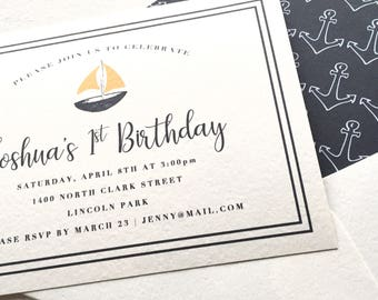 Nautical Invitation - Birthday Boy - Sailboats and Anchors - Printed A6 4.5x6.25 Invitation - Navy and Orange Sailboat