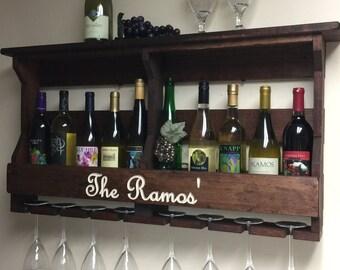 Wine Rack | Engraved Wine Rack | Personalized Wine Rack | Personalized Gift | Wedding gift idea | Gift for couples | Rustic Wine Rack