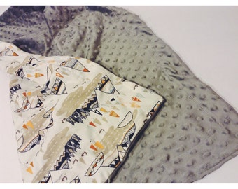 Mountain Man Dotted Minky Baby Blanket