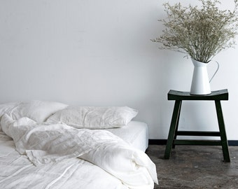 100% Pure Linen Duvet & Pillowcases - White - Stone Washed Flax Bedding
