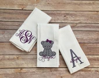 Monogram Burp Cloth Teddy Bear EMBROIDERED