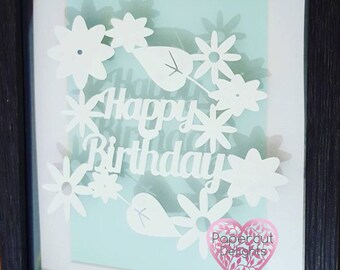 Happy birthday papercut, wall art, home decor, birthday gift, perfect gift, present