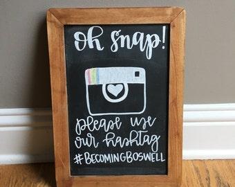 Custom Wedding Hashtag Chalkboard Sign