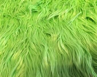 "Mongolian Long Faux Fur Polyester Fabric High Spring Green Grass 14""X11"" Piece Fake"