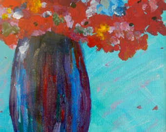 Red Flowers in Tall Vase II; acrylic painting, floral painting, flowers, bouquet, vase, canvas art