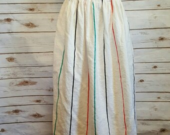Vintage, 1960's Full white skirt with multicolor stripes, Size 8