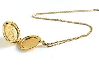 Gold Locket Necklace - Gold Necklace - Gold Monet Necklace - Monet Locket Necklace - Floral Locket Pendant - Gold Locket Pendant Necklace
