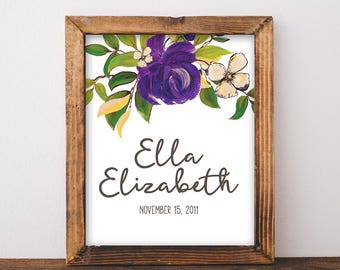 Baby Name Sign - Baby Name Print - Girl Name Sign - Custom Name Sign - Floral Name Art - Nursery Name Sign - Digital Files - 8x10 Printable