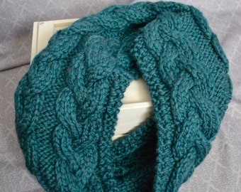 Knitted cables chunky infinity blue scarf, comfy and warm for winter and spring - cozy fashion for her - women winter wear